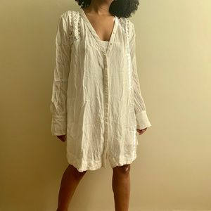Free People White Oversized Relaxed Beach Dress